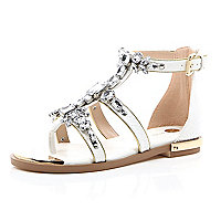 White embellished gem strappy sandals