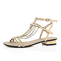 Light pink chain and charm sandals