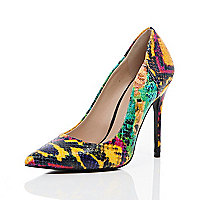 Green leather snake print court shoes
