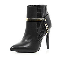 Black leather croc embossed ankle boots