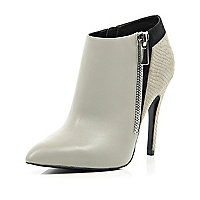 Grey contrast leather pointed toe ankle boots