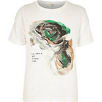 Cream flower print ribbed t-shirt