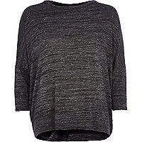 Dark grey metallic twist back top