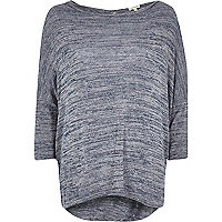 Silver metallic twist back top