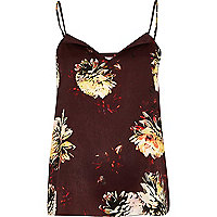 Dark red floral print cami