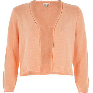 Coral 3/4 sleeve cropped cardigan