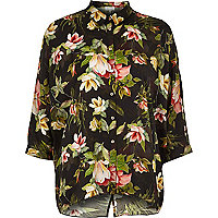 Black tropical floral print shirt