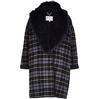 Grey check faux fur collar coat