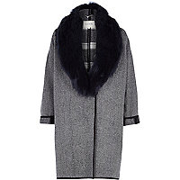 Black check faux fur collar coat