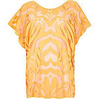 Orange oversized lace tunic