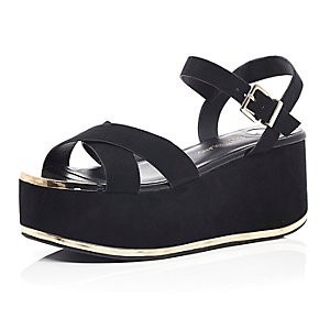 Black cross strap flatforms