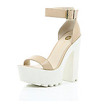 Nude leather chunky cleated sole platforms