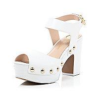 White stud mid heel platform sandals