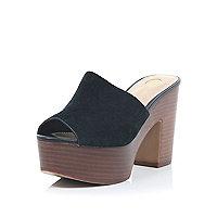 Black suede platform mules