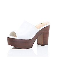 White leather platform mules