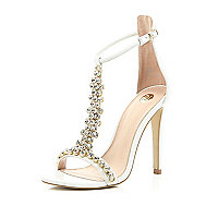 White gem embellished T bar sandals