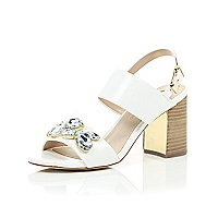 White jewel embellished mid heel sandals
