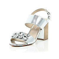 Silver jewel embellished block heel sandals