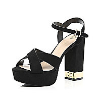 Black suede cross front platform sandals