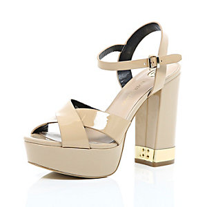 Nude patent leather cross front 70s platforms