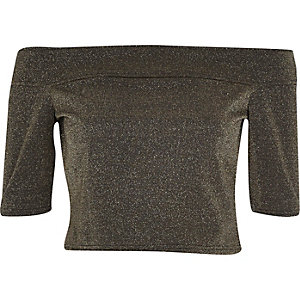 Gold metallic shimmer bardot crop top