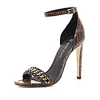 Brown snake print chain barely there sandals