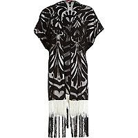 Black swirl gradient tassel kimono