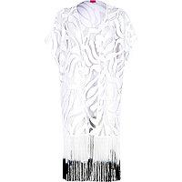White lace gradient fringed kimono