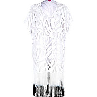 White lace gradient tassel kimono