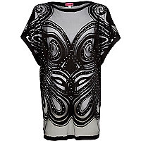 Black studded oversized lace t-shirt