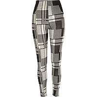 Grey check leggings