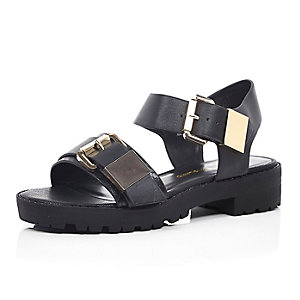 Black double buckle chunky cleated sandals