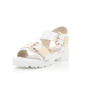 White snake print chunky cleated sandals
