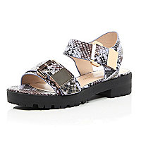 Purple snake print chunky cleated sandals