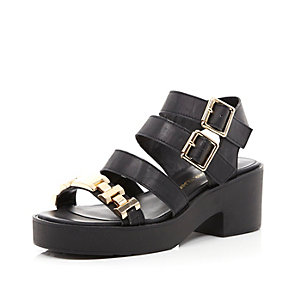 Black strappy gold detail sandals