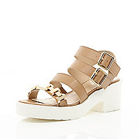 Beige strappy gold detail sandals