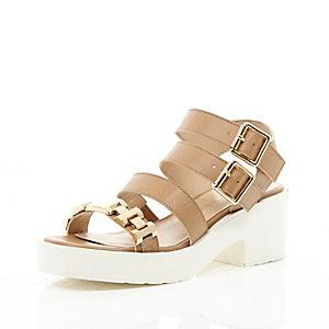 Beige strappy gold detail sandals