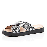 Black snake print cross strap sliders