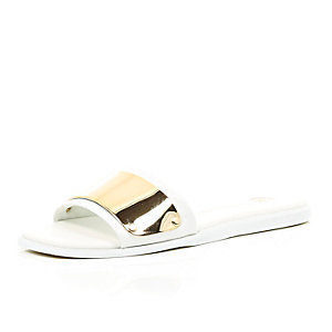 White and gold plated pool sliders