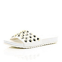 White leather-look studded pool sliders