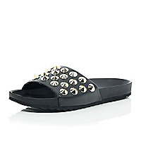 Black leather-look studded pool sliders