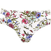 White floral print split side bikini bottoms
