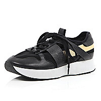 Black leather metallic contrast trainers