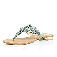 Green gem and stone embellished sandals