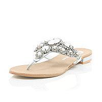 White gem and stone embellished sandals