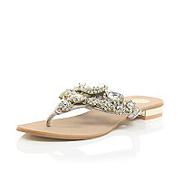 Gold gem and stone embellished sandals