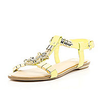 Lime jewel detail T-bar sandals