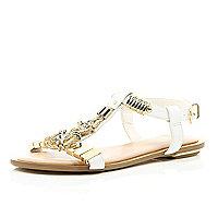 White jewel detail T-bar sandals