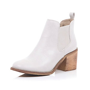 White block heel Chelsea ankle boots