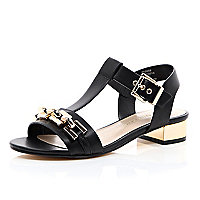 Black leather-look chain front sandals